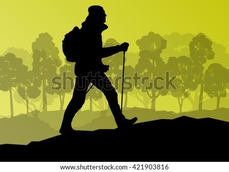 man hiking in mountains