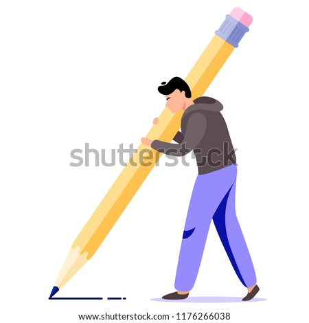 Man hold big pencil. Writer vector illustration. Flat cartoon character concept design for bloggers, journalists, interviewer
