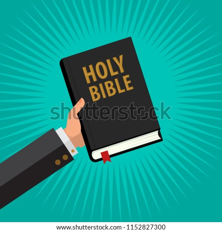 Man Hold Holy Bible in His Hand, Life Foundation Bible in the iSolated Green Background. Flat Vector.