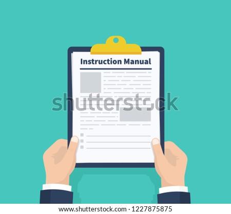 Man hold instruction manual. Checklist Holding the clipboard. Paperwork, sheets in folder. Vector illustration ストックフォト ©