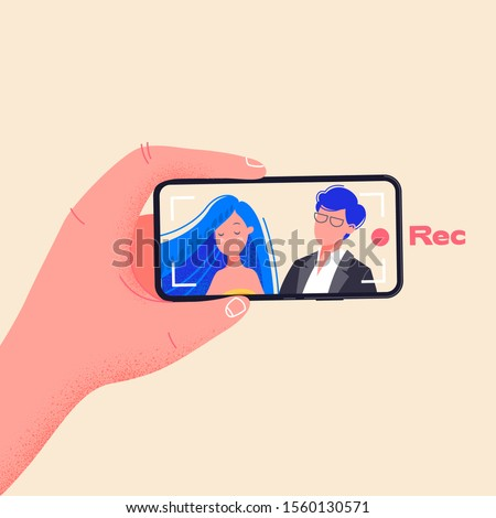 Man hold phone horizontally and record video. Make video by pressing red record button. Young couple on smartphone screen vector illustration. Flat design drawing about phone addiction.