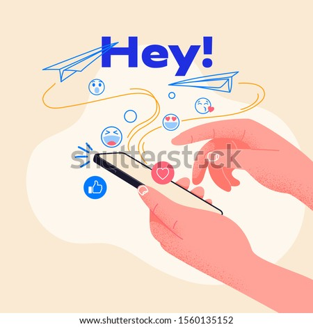 Man hold smartphone and type new message. Send emojis to friends. Vector illustration, ideal for websites and startups. Social media addiction, collect likes and feedbacks.