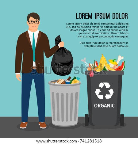 Man holding a big trash bag, near the garbage container, vector illustration