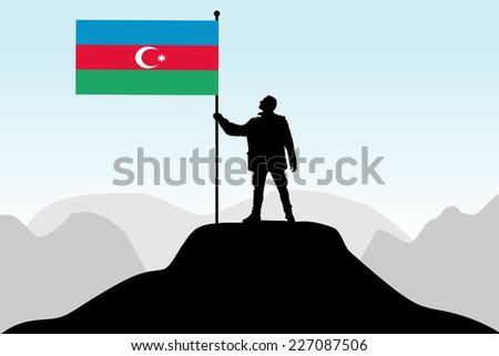 man holding a flag of Azerbaijan, vector