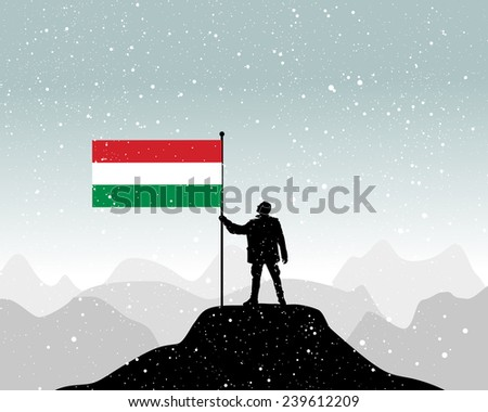 man holding a flag of hungary, vector