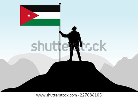 man holding a flag of Jordan, vector
