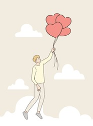Man holding a heart shaped balloon flying through the clouds. Love and Valentine's day concept. Hand draw style. Vector illustration.