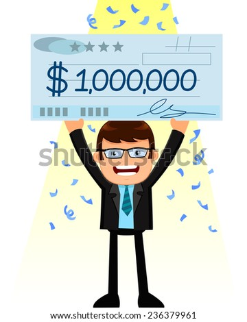 man holding a huge check of one