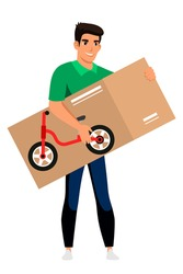 Man holding bicycle in box isolated person. Young guy bought child bike, holds purchase, home delivery. Birthday present for kid, celebration holiday, happy childhood. Vector character illustration