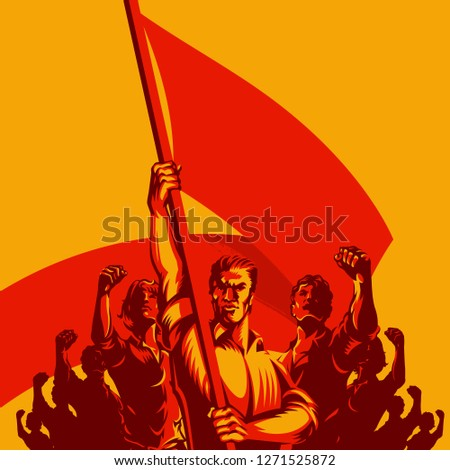 man holding blank flag in front