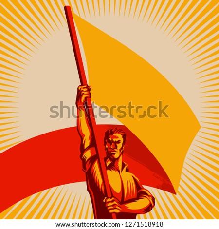 man holding blank flag vector