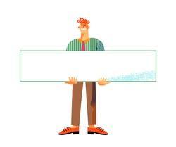 Man holding blank placard. Activist protesting with empty poster vector illustration. Young happy smiling guy holding paper banner for message, isolated on white background.
