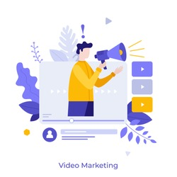 Man holding bullhorn or megaphone in multimedia player window. Concept of social video marketing, online advertisement, internet promotion, digital ad or promo. Modern flat vector illustration.