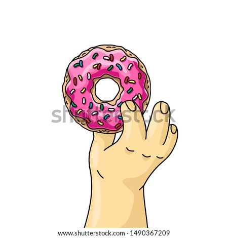 man holding cartoon donut with