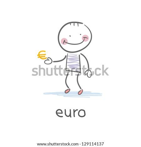 Man holding euro sign . Illustration