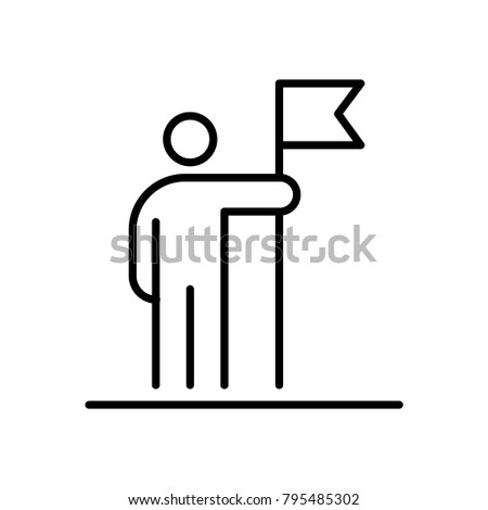 Man holding flag business people icon simple line flat illustration.