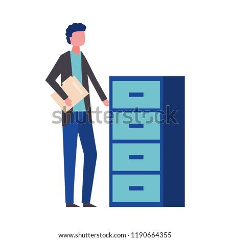 man holding folder office cabinet drawers