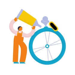 Man holding glue tube in his hands. Bicycle punctured wheel. Bike service. Textured flat vector illustration
