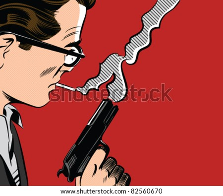 Stock Photo Man Holding Gun Smoking A Cigarette