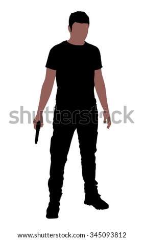 man holding gun  vector