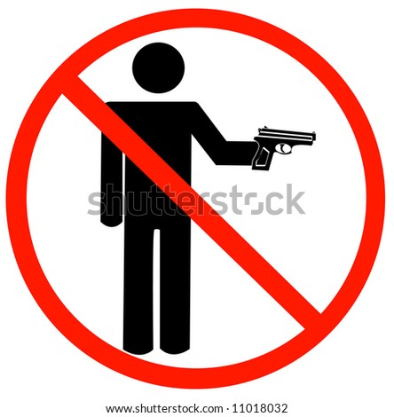 man holding gun with not allowed symbol - guns prohibited - vector - stock vector
