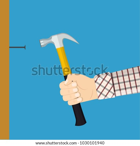 Man holding hammers a nail into a wall. Home repairs concept. Renovation house. Template construction work. Vector illustration in flat style