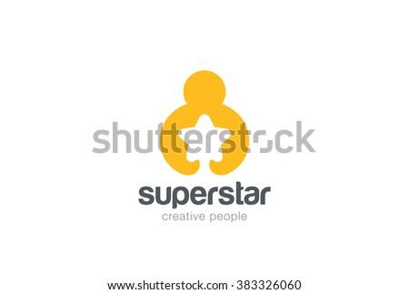 man holding hands star logo