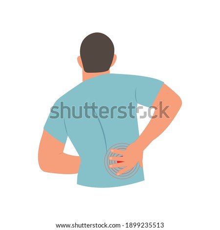 Man holding his back in pain. Lower back pain. Backache concept.Vector illustration on a white background. ストックフォト ©
