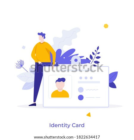 Man holding ID, name tag, badge. Concept of identity card with personal information, national identification document, passport, driver's license. Modern flat colorful vector illustration for banner. Stock fotó ©