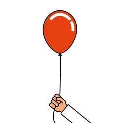 man holding in hand a balloons on a ribbon