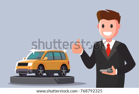 Man holding key from new car. Vector flat