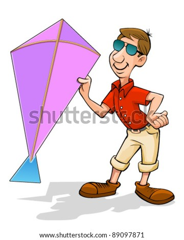 man holding kite