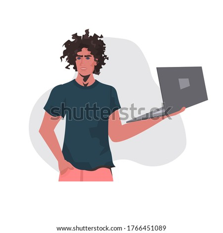 man holding laptop african