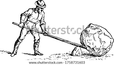 Man holding lever trying to lift heavy rock by means of fulcrum, fulcrum is a pivot point around which a lever turns, vintage line drawing or engraving illustration. Stock photo ©