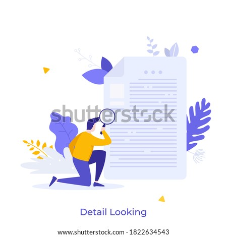 Man holding magnifying glass and examining document. Concept of business analysis, audit, professional check of documentation, investigation, inspection. Modern flat colorful vector illustration.