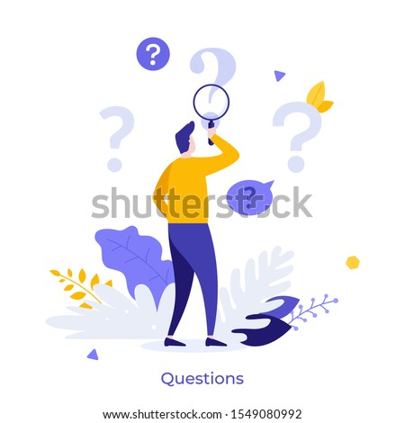 Man holding magnifying glass and looking through it at interrogation points. Concept of frequently asked questions, query, investigation, search for information. Modern flat vector illustration.
