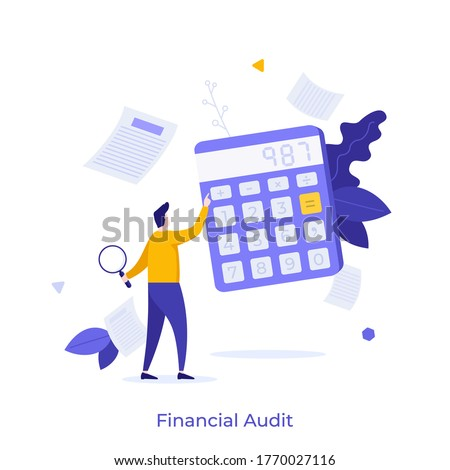 Man holding magnifying glass and using calculator. Concept of financial audit or professional accounting service, calculation of expenses. Modern colorful flat vector illustration for banner. Сток-фото ©