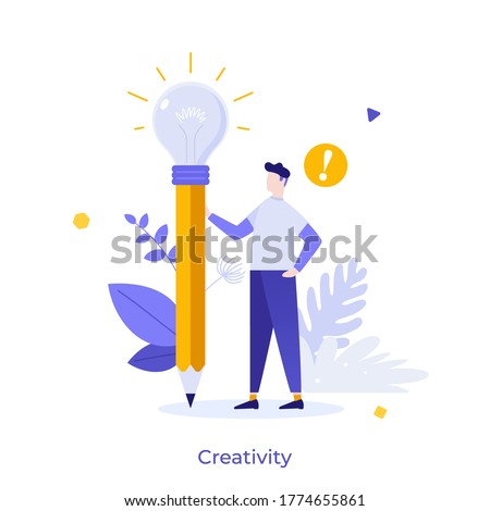 Man holding pencil with glowing lightbulb. Concept of creativity, creative thinking, innovative idea, innovation, inspiration for artist, creator. Modern flat colorful vector illustration for poster.