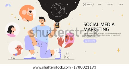 Man holding smartphone. Influencer marketing banner, flyer, web page. Social media account promotion, audience or followers growth, refer a friend. People following bloger on social media.