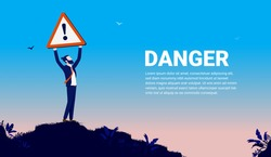 Man holding up warning sign - Businessman holding sign of danger over head outdoors. Copy space for text. Vector illustration.
