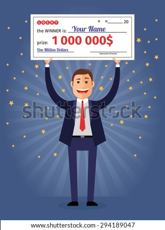 man holding winning check for