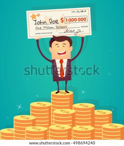 Man holding winning check for one million dollars. Vector illustration