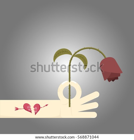man holding wither red rose