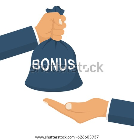 Man holds a bag of money in hand like a bonus. Handing awards concept. Give reward for the job. Vector illustration flat design. Isolated on white background.
