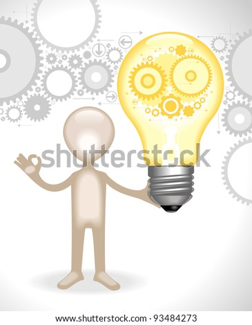 man  holds the bulb with gears.concept of the emergence of the idea