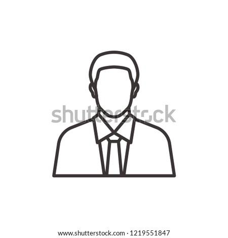 Man icon, businessman vector line icon