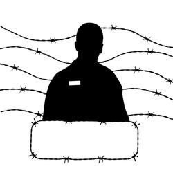 man icon vector, barbed wire, silhouette prisoner vector