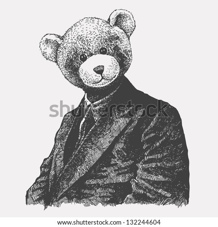 man in a bear mask. drawing style. vector illustration