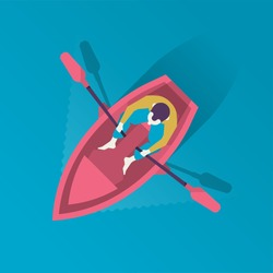 man in a boat from above vector illustration