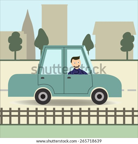 man in a car in the city flat